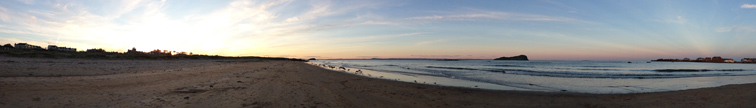 Panorama of North Berwick West Bay at sunset by Ian Goodall
